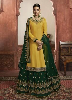 Yellow Ceremonial Faux Georgette Bollywood Lehenga Choli