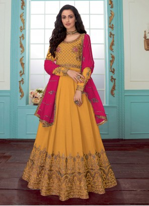 Yellow Ceremonial Faux Georgette Trendy Anarkali Salwar Suit