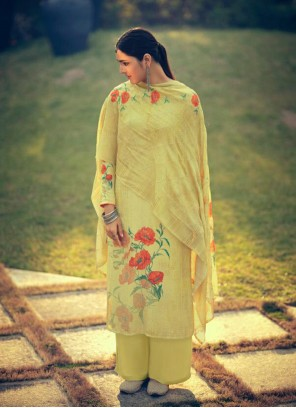 Yellow Ceremonial Muslin Designer Palazzo Suit