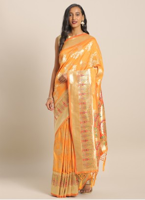 Yellow Banarasi Silk Ceremonial Saree