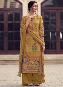 Yellow Ceremonial Satin Designer Palazzo Salwar Kameez