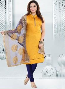 Yellow Chanderi Churidar Designer Suit