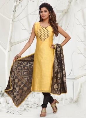 Yellow Chanderi Designer Straight Salwar Suit