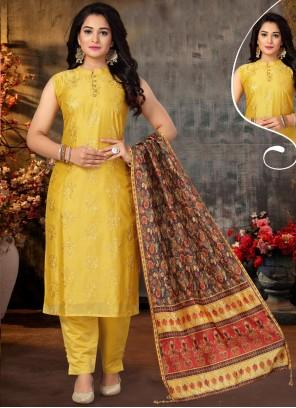 Yellow Chanderi Embroidered Designer Suit