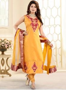 Yellow Chanderi Festival Churidar Designer Suit