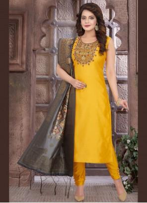 Yellow Chanderi Mehndi Readymade Suit