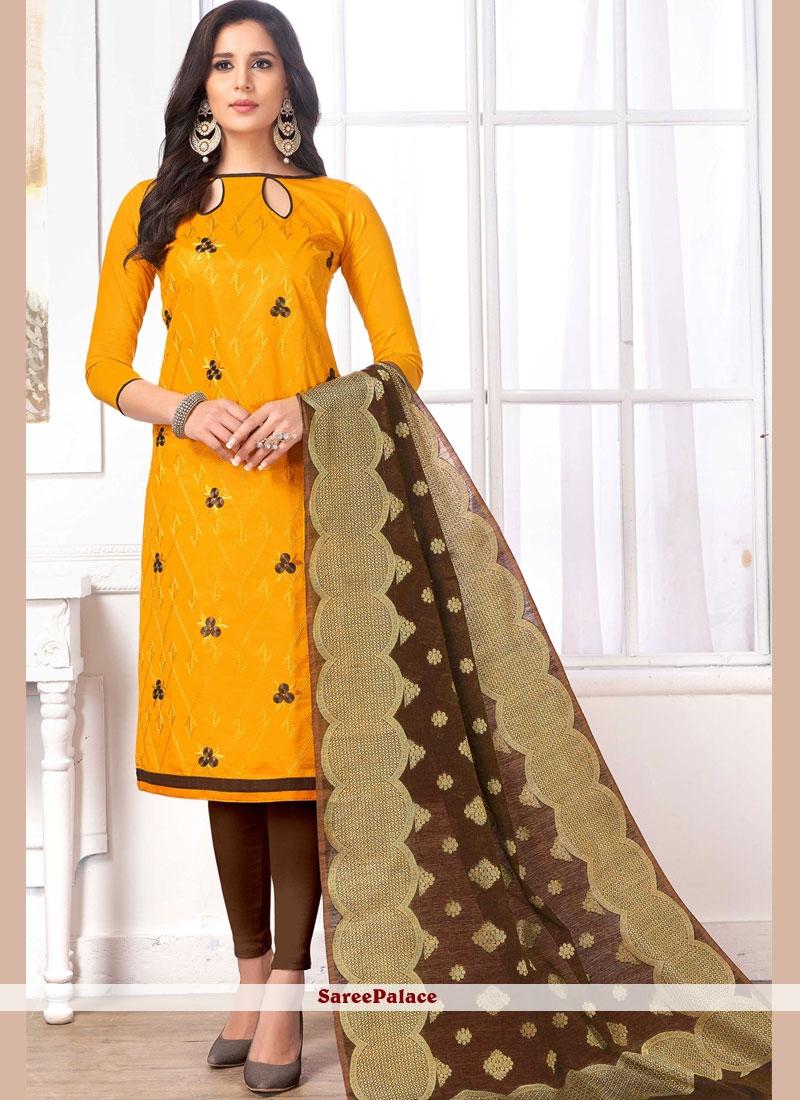Yellow Churidar Salwar Kameez