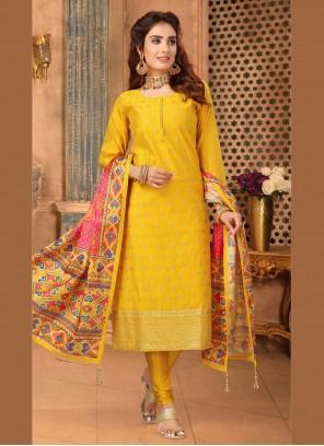 Yellow Churidar Salwar Suit