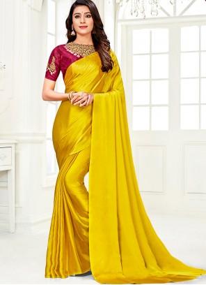 Yellow Faux Chiffon Classic Saree