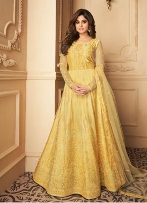 Yellow Color Anarkali Salwar Kameez