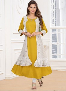 Yellow Color Anarkali Salwar Suit