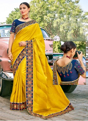 Yellow Color Classic Designer Saree