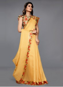 Yellow Color Lace Work Classic Saree