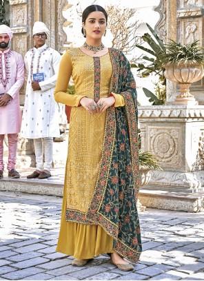 Yellow Color Designer Palazzo Salwar Kameez