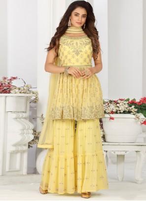 Yellow Color Designer Palazzo Salwar Suit