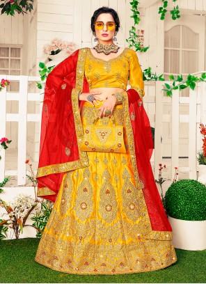 Yellow Color Satin Silk Lehenga Choli