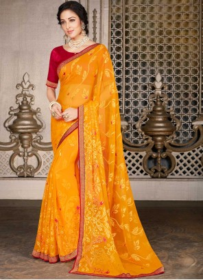 Yellow Color Faux Georgette Printed Saree