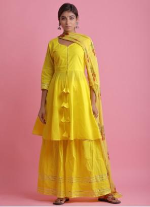 Yellow Cotton Block Print Readymade Suit