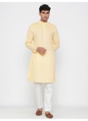 Yellow Cotton Engagement Kurta Pyjama