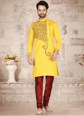 Yellow Cotton Mehndi Kurta Pyjama