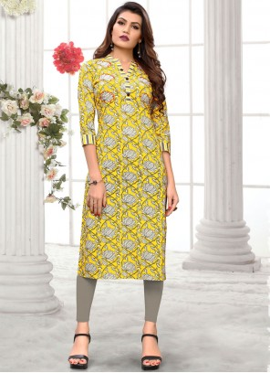 Yellow Cotton Party Casual Kurti
