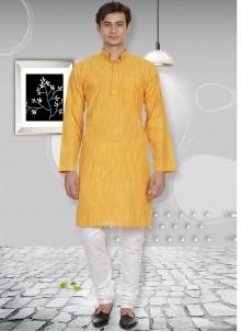 Yellow Cotton Plain Kurta Pyjama