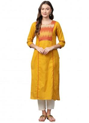 Yellow Cotton Print Party Wear Kurti