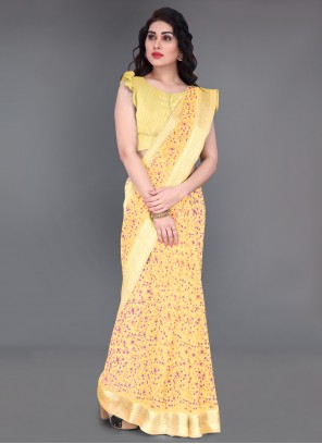 Yellow Cotton Printed Saree