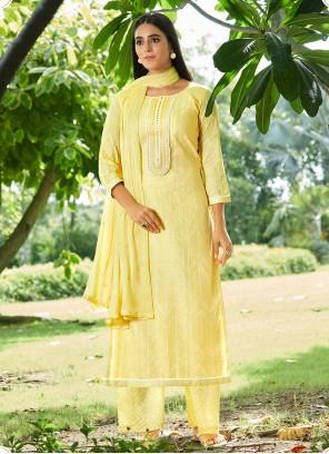 Yellow Cotton Sequins Designer Pakistani Suit