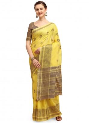 Yellow Cotton Silk Festival Classic Designer Saree