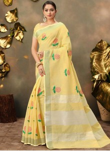 Yellow Cotton Trendy Saree