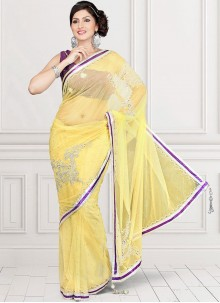 Yellow Crystal Work Net Saree