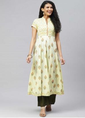 Yellow Cotton Designer Kurti