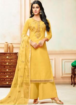 Yellow Designer Palazzo Suit