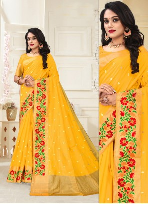 Yellow Designer Ceremonial Traditional Saree