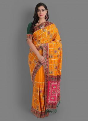 Yellow Diamond Silk Saree