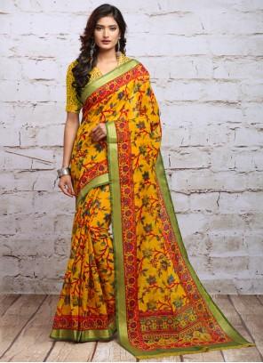 Yellow Digital Print Silk Casual Saree