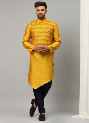 Yellow Dupion Silk Kurta Pyjama