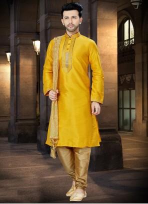 Yellow Embroidered Art Dupion Silk Kurta Pyjama