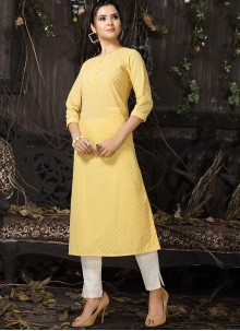 Yellow Embroidered Cotton Party Wear Kurti