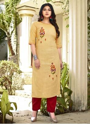 Yellow Embroidered Designer Kurti