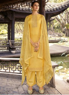 Yellow Embroidered Designer Palazzo Suit