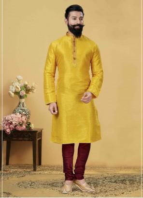 Yellow Embroidered Engagement Kurta Pyjama