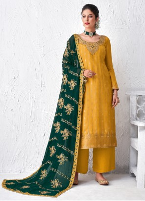 Yellow Embroidered Faux Georgette Designer Palazzo Suit