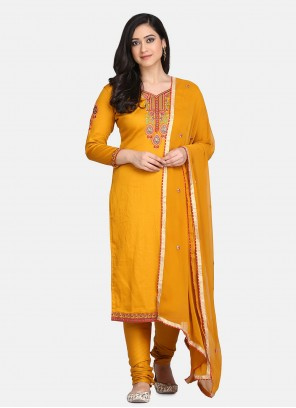 Yellow Embroidered Festival Designer Straight Suit