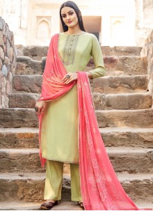 Yellow Embroidered Festival Salwar Suit