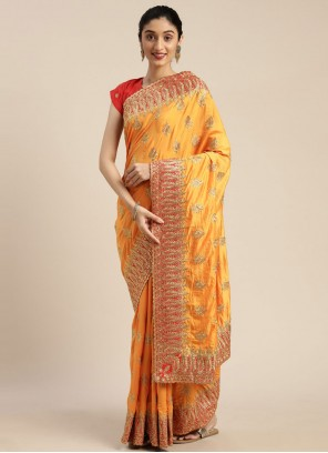 Yellow Embroidered Festival Traditional Designer Saree