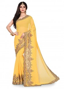 Yellow Embroidered Georgette Designer Traditional Saree