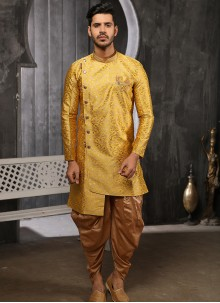 Yellow Embroidered Indo Western