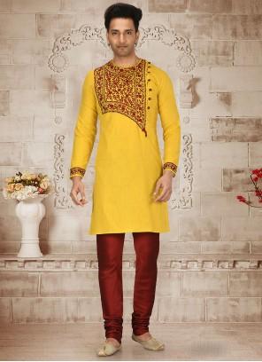 Yellow Embroidered Kurta Pyjama